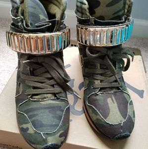 Shoes - Camo wedge sneakers